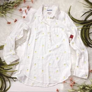 White Lemon Print Cotton Long Sleeve Top